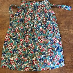 Vintage long floral wrap around skirt